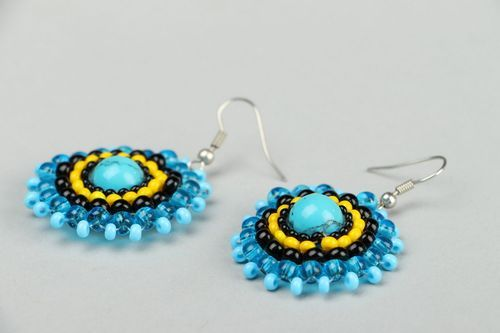 Earrings made of beads and turquoise - MADEheart.com