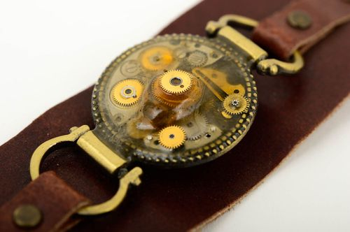 Handmade leather bracelet designer accessories steampunk bracelets for women - MADEheart.com