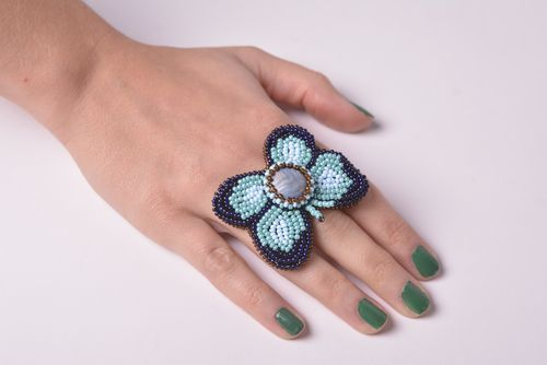 Beautiful handmade beaded ring woven bead ring cool accessories for girls - MADEheart.com