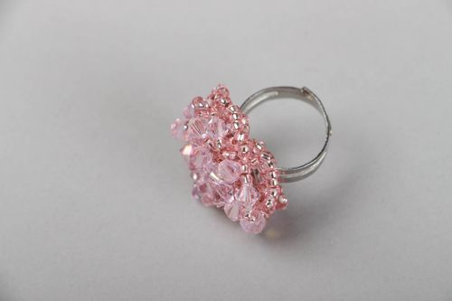 Ring made of beads and crystal - MADEheart.com