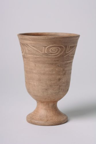 Handmade ceramic goblet with ornament kilned with milk 400 ml in ethnic style - MADEheart.com