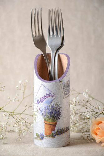 Handmade wooden cutlery holder decoupage wooden kitchen utensil holder gift idea - MADEheart.com