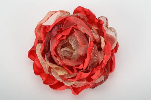Red brooch-hairpin in the shape of flower - MADEheart.com