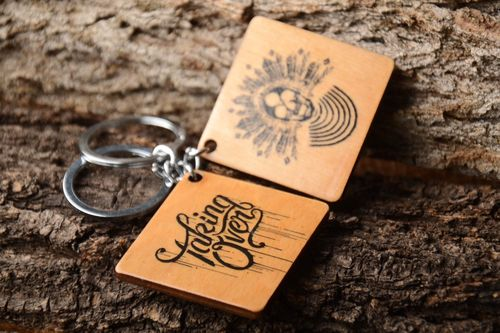 Handmade keychains set of 2 items unusual souvenir wooden keychain for men - MADEheart.com