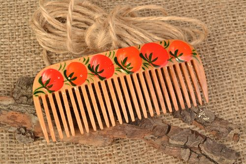 Homemade wooden hair comb with Petrikov painting Tomatoes - MADEheart.com