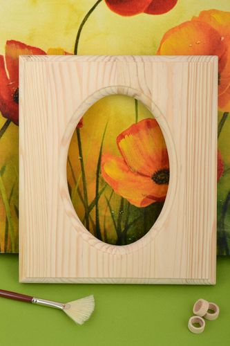 Unusual handmade designer pine wood blank photo frame for painting DIY - MADEheart.com