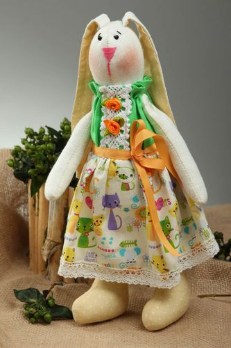 Handmade designer soft toy unusual textile toy bright rabbit for girls - MADEheart.com