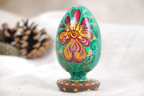 Handmade decorative wooden Easter egg painted and varnished Family Protector - MADEheart.com