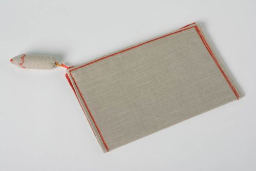 Handmade designer linen fabric cosmetic bag of gray color with decorative pencil - MADEheart.com