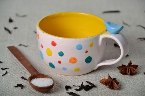 White cup with multi-colored dots  - MADEheart.com