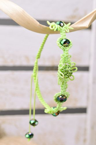 Stylish handmade womens wrist bracelet woven of threads and beads of lime color - MADEheart.com