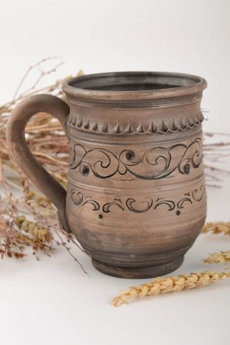 Handmade large ceramic cup with relief ornaments in ethnic style 500 ml - MADEheart.com