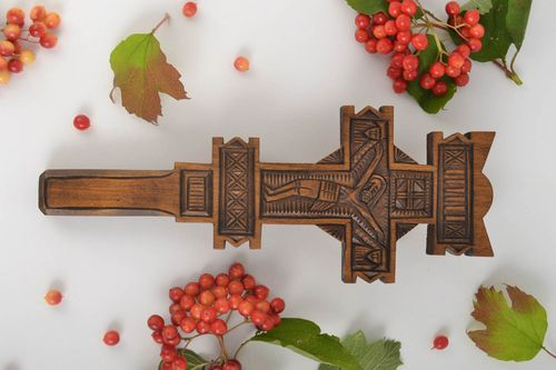 Handmade carved crucifix unusual designer interior cross home decoration - MADEheart.com
