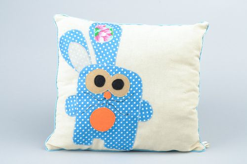 Handmade accent pillow sewn of cotton and linen with image of blue rabbit - MADEheart.com