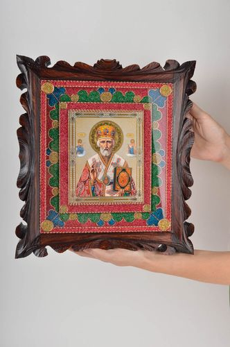 Handmade icon framed icon of Saint Nicholas icon in wooden frame icon of saints  - MADEheart.com