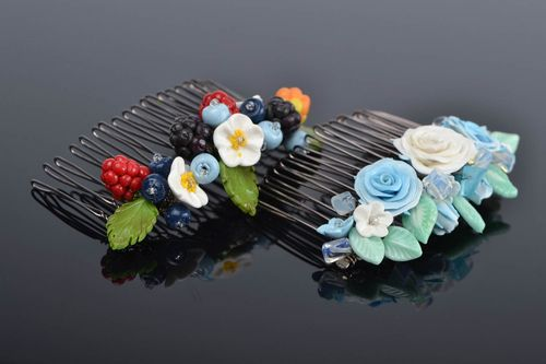 Set of 2 beautiful handmade hair combs with polymer clay flowers and berries - MADEheart.com
