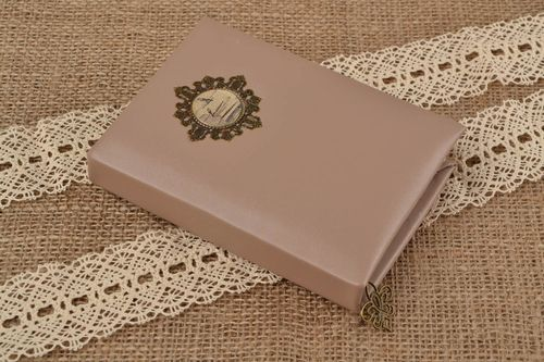 Unusual handmade beautiful leatherette notebook with tassel - MADEheart.com