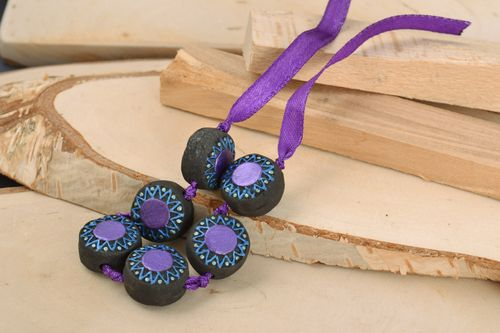 Black and violet handmade clay bracelet with flat beads and ribbon - MADEheart.com
