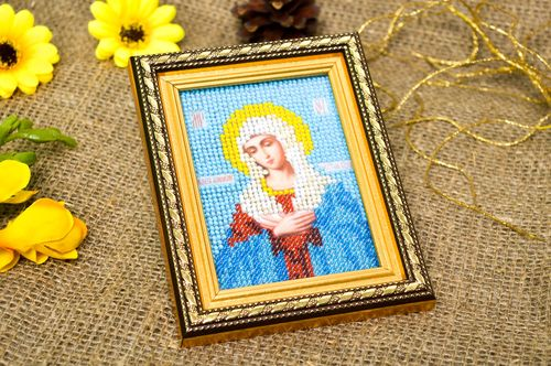 Handmade orthodox icon beautiful embroidered present cute icon of Madonna - MADEheart.com