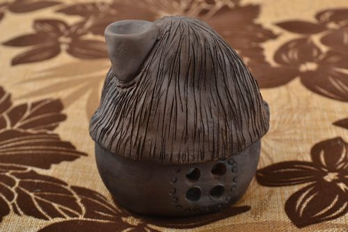 Clay oil burner in the form of small brown house beautiful handmade decor - MADEheart.com