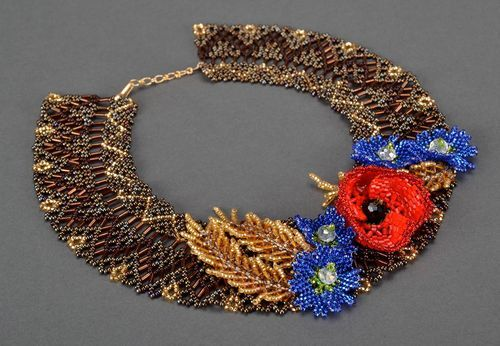 Necklace Field flowers made of Czech beads - MADEheart.com
