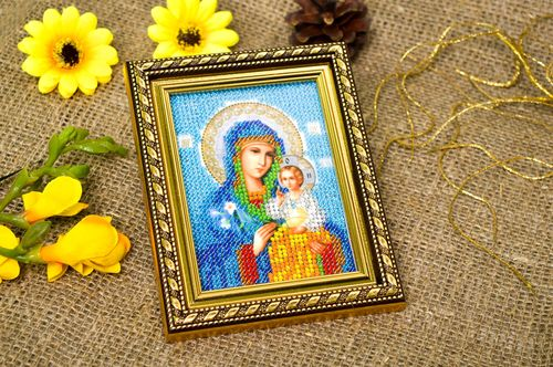 Handmade beautiful icon cute present for grandparents embroidered icon - MADEheart.com