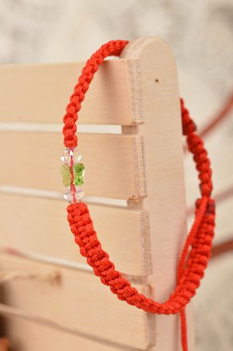 Beautiful handmade thin red friendship bracelet woven of silk threads Butterfly - MADEheart.com