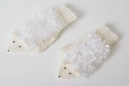 Handmade knitted wool mittens beautiful winter accessory Hedgehogs - MADEheart.com