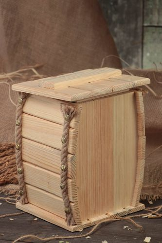 Handmade plywood craft blank for decoupage or painting decorative box with lid - MADEheart.com