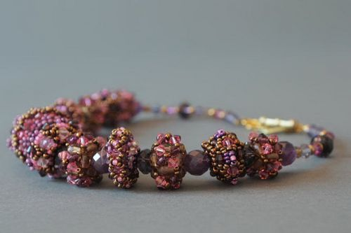 Necklace made of Czech beads with decorative stones - MADEheart.com