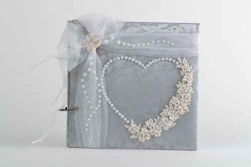 Beautiful decorative handmade scrapbook wishes album of gray color with tulle - MADEheart.com