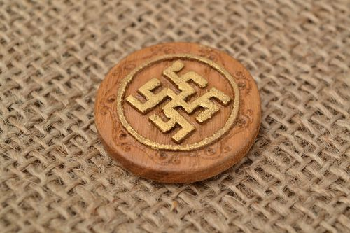 Small carved wooden handmade amulet with symbol Fern flower  - MADEheart.com