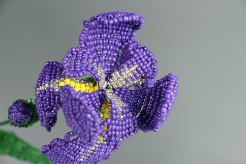 Decorative flower made from beads Iris - MADEheart.com