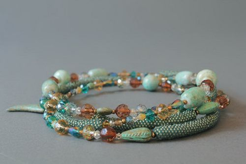 Plaited necklace made from beads with decorative stones - MADEheart.com