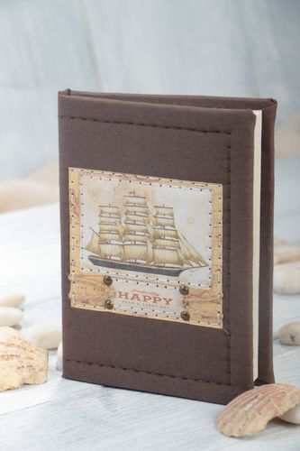 Handmade beautiful notebook writing pad with textile cover brown notebook - MADEheart.com