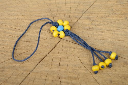 Macrame keychain with yellow wooden beads - MADEheart.com