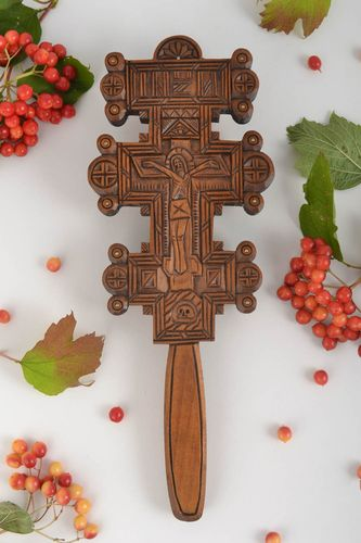 Wall crucifix handmade wall cross wooden cross wood wall decor housewarming gift - MADEheart.com