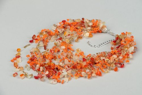 Necklace made of beads and carnelian - MADEheart.com