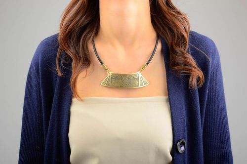Designer metal necklace unusual accessory for girls handmade stylish jewelry - MADEheart.com