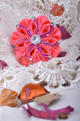 Handmade bright pink hair tie with satin ribbon kanzashi flowers with rhinestones - MADEheart.com