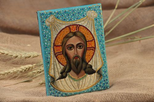 Handmade orthodox icon painted with gouache on wooden basis Christ of Edessa  - MADEheart.com