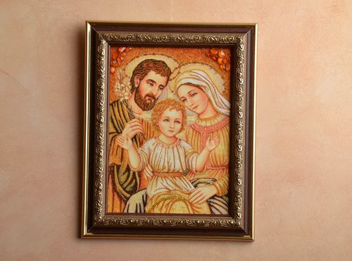 Amber decorated icon with wooden frame - MADEheart.com
