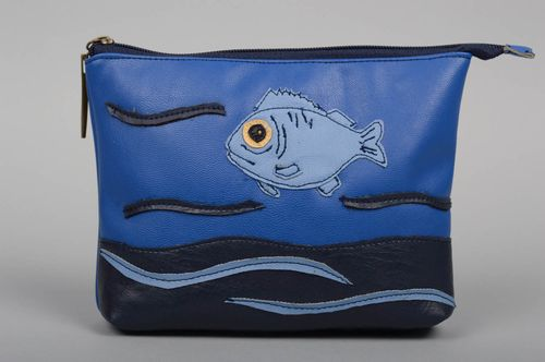 Handmade clutch bag women blue clutch leatherette bag unusual female accessory - MADEheart.com