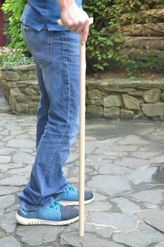 Handmade designer varnished light wooden walking stick with art carving for men - MADEheart.com