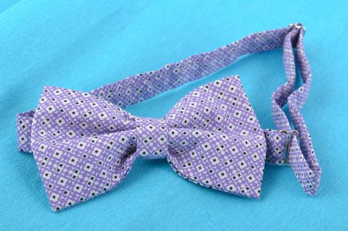 Beautiful lilac handmade designer fabric bow tie unusual unisex accessory - MADEheart.com