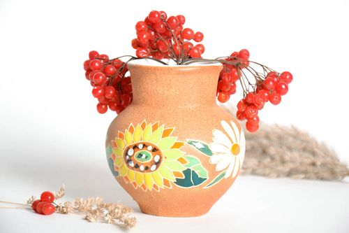 Ceramic hand-painted sunflower 40 oz vase, milk jar with no handle 5 , 1 lb - MADEheart.com