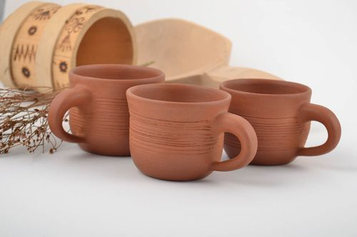 Set of 3 handmade brown ceramic coffee cups of different sizes laconic design - MADEheart.com