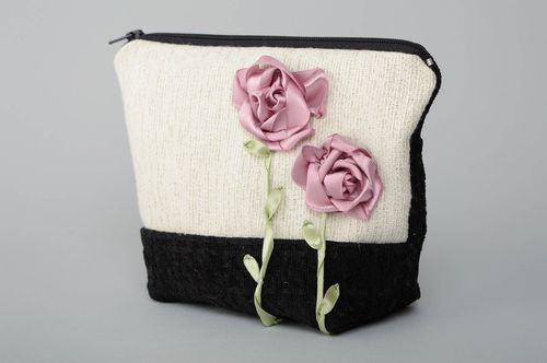 Handmade fabric cosmetic bag embroidered with ribbons Roses - MADEheart.com