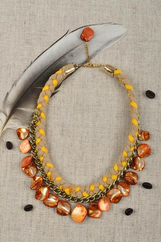 Handmade massive necklace yarn necklace handmade accessories stylish jewelry - MADEheart.com