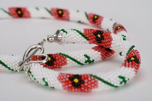 Set of adornments of Czech beads Poppy seeds - MADEheart.com